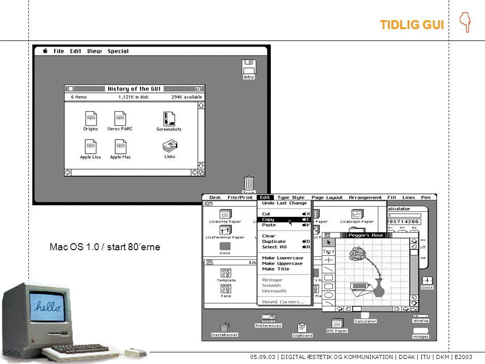 K tekst TIDLIG GUI Mac OS 1.0 / start 80'erne