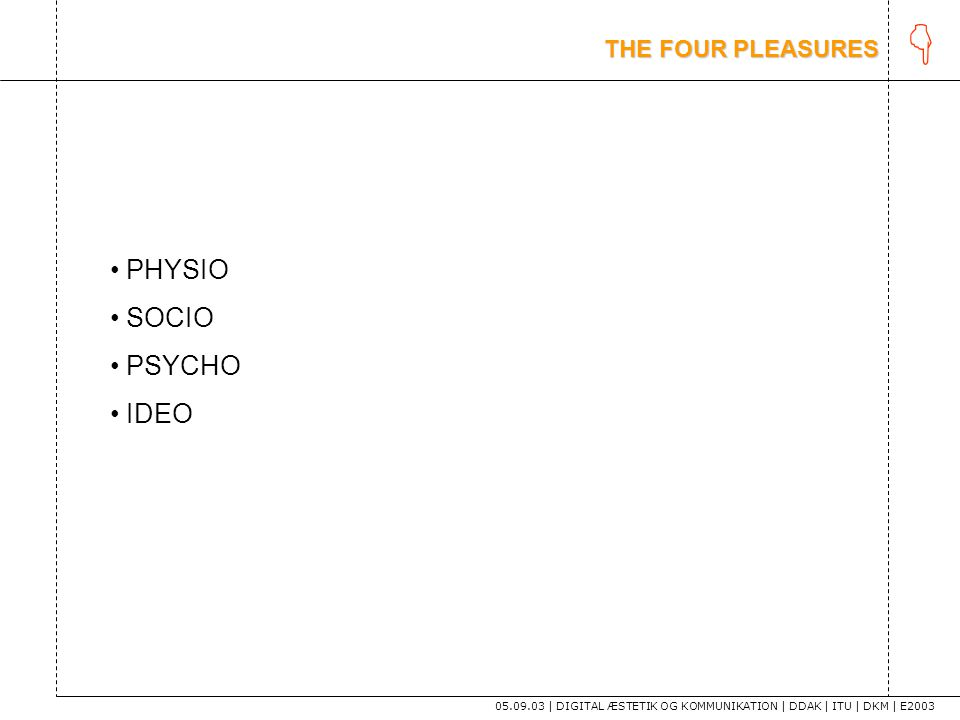 K PHYSIO SOCIO PSYCHO IDEO THE FOUR PLEASURES