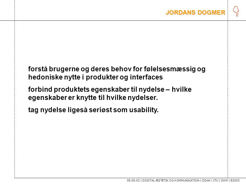 K JORDANS DOGMER. forstå brugerne og deres behov for følelsesmæssig og hedoniske nytte i produkter og interfaces.