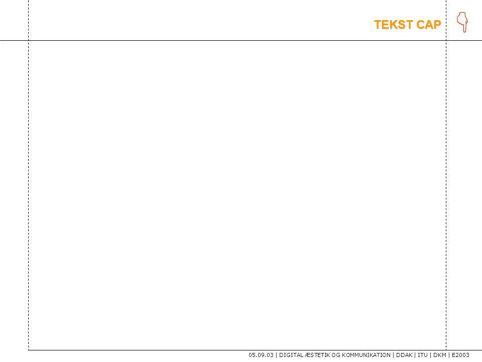 K TEKST CAP 05.09.03 | DIGITAL ÆSTETIK OG KOMMUNIKATION | DDAK | ITU | DKM | E2003