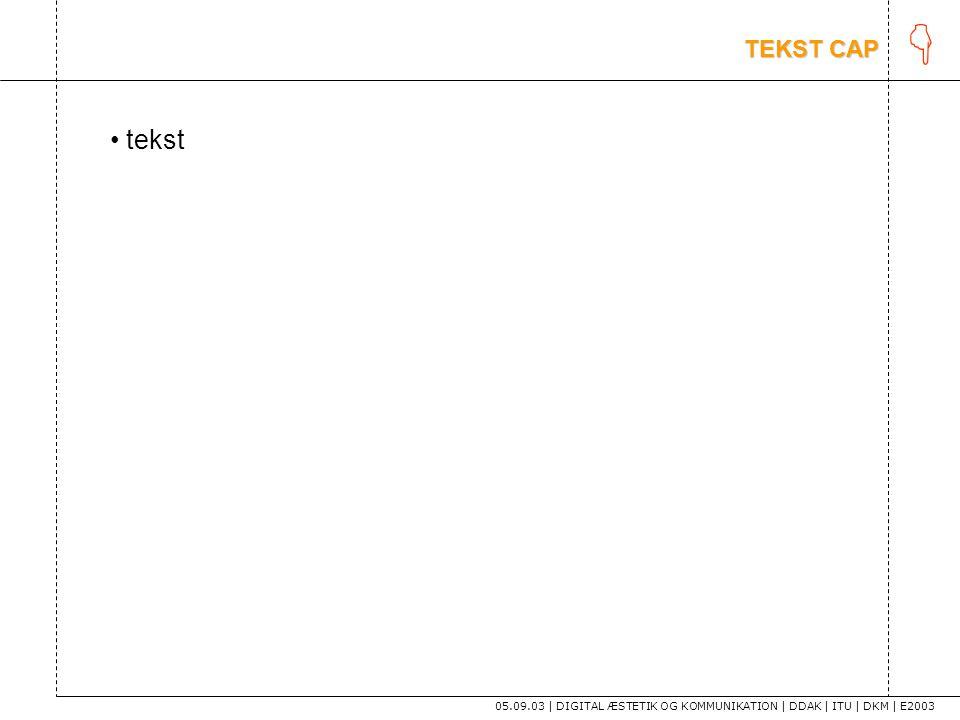 K TEKST CAP tekst 05.09.03 | DIGITAL ÆSTETIK OG KOMMUNIKATION | DDAK | ITU | DKM | E2003