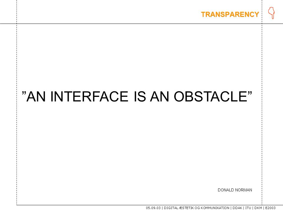 K AN INTERFACE IS AN OBSTACLE TRANSPARENCY DONALD NORMAN