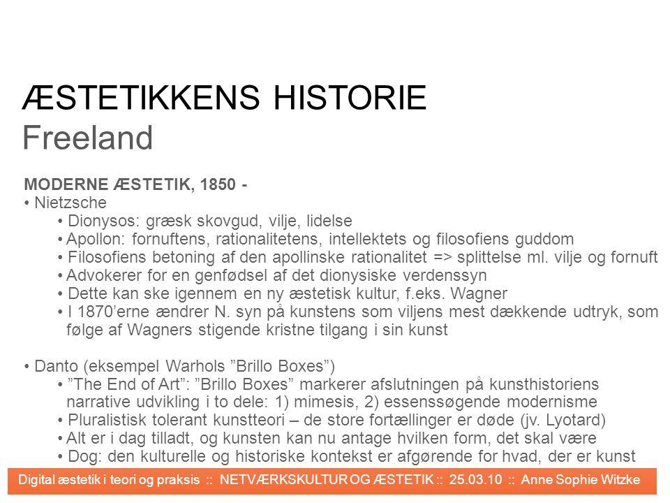 ÆSTETIKKENS HISTORIE Freeland MODERNE ÆSTETIK, 1850 - Nietzsche