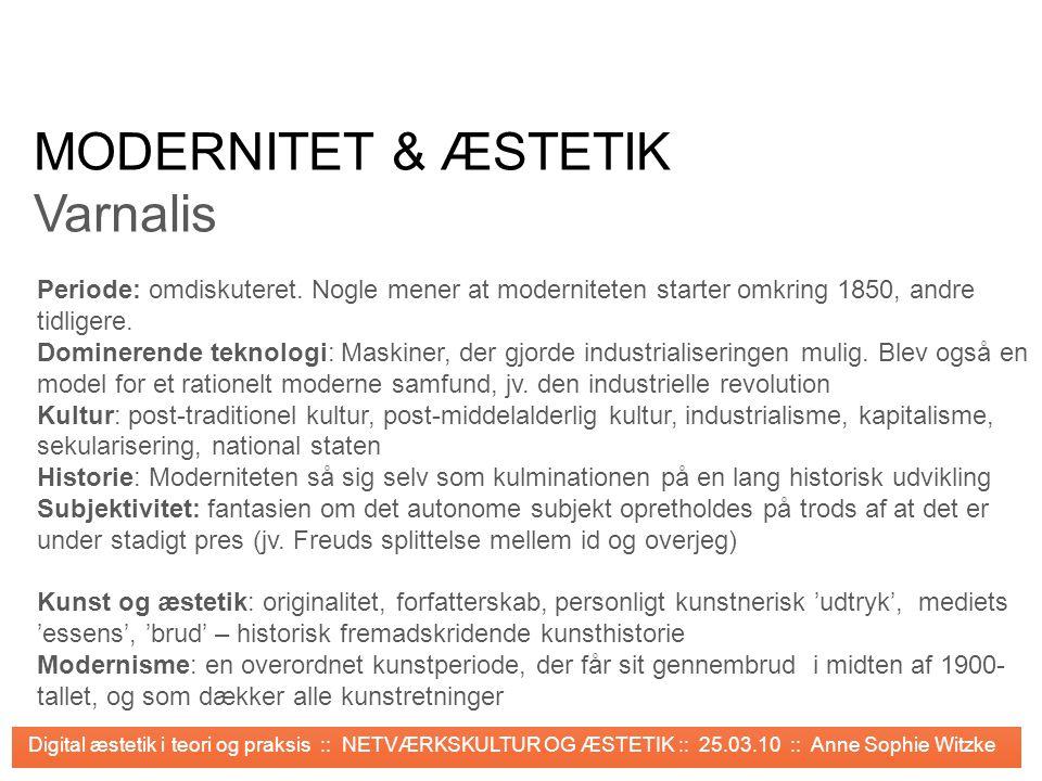 MODERNITET & ÆSTETIK Varnalis