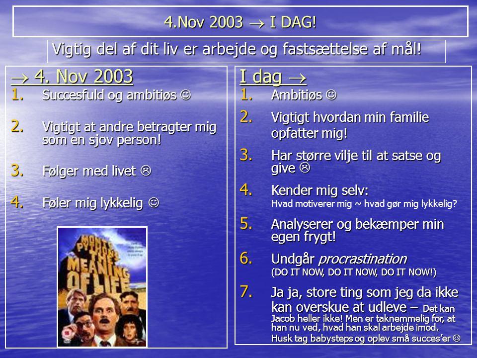 4.Nov 2003  I DAG! Vigtig del af dit liv er arbejde og fastsættelse af mål!  4. Nov 2003. Succesfuld og ambitiøs 