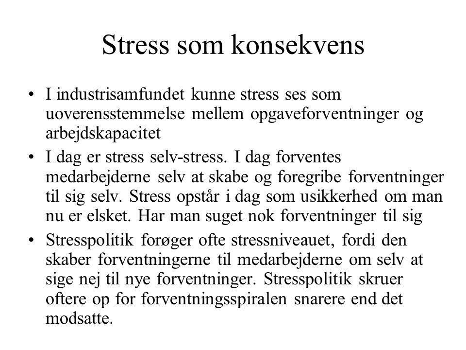 Stress som konsekvens I industrisamfundet kunne stress ses som uoverensstemmelse mellem opgaveforventninger og arbejdskapacitet.