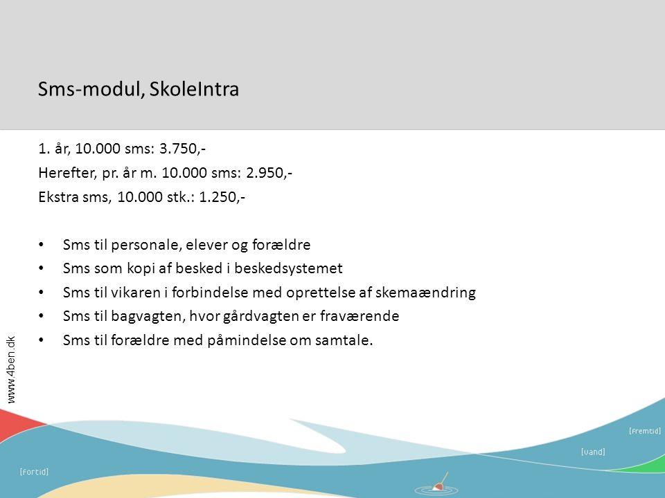 Sms-modul, SkoleIntra 1. år, 10.000 sms: 3.750,-