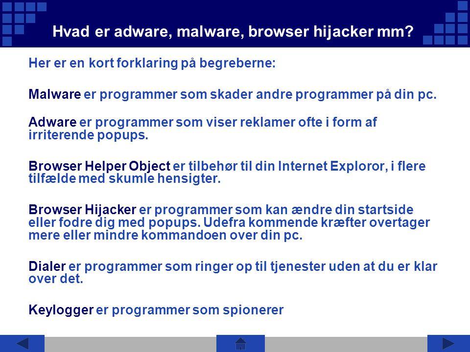 Hvad er adware, malware, browser hijacker mm