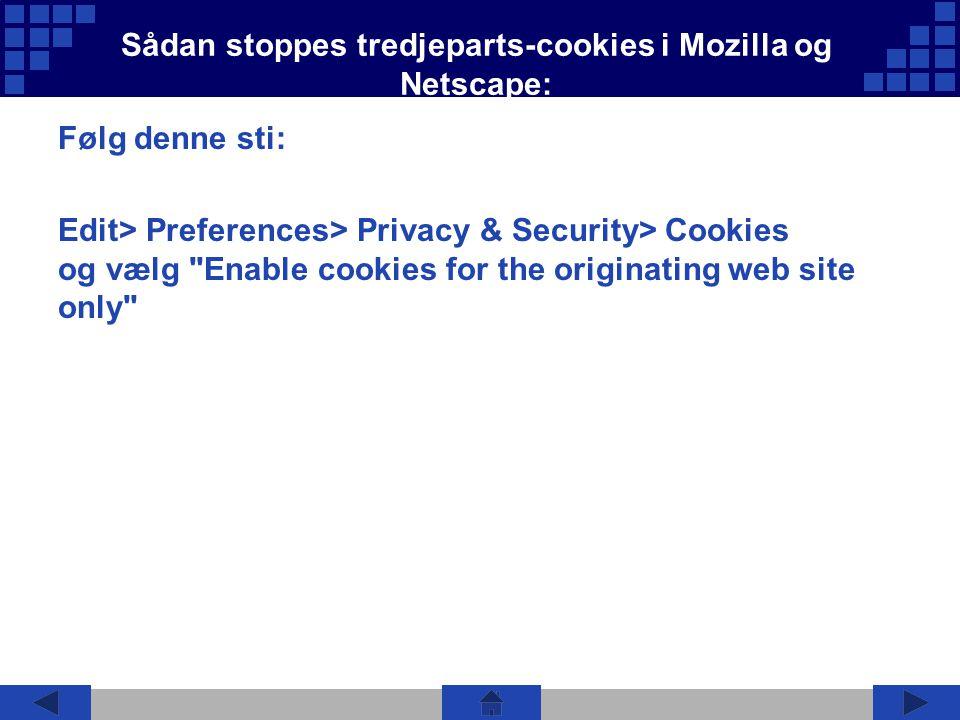 Sådan stoppes tredjeparts-cookies i Mozilla og Netscape: