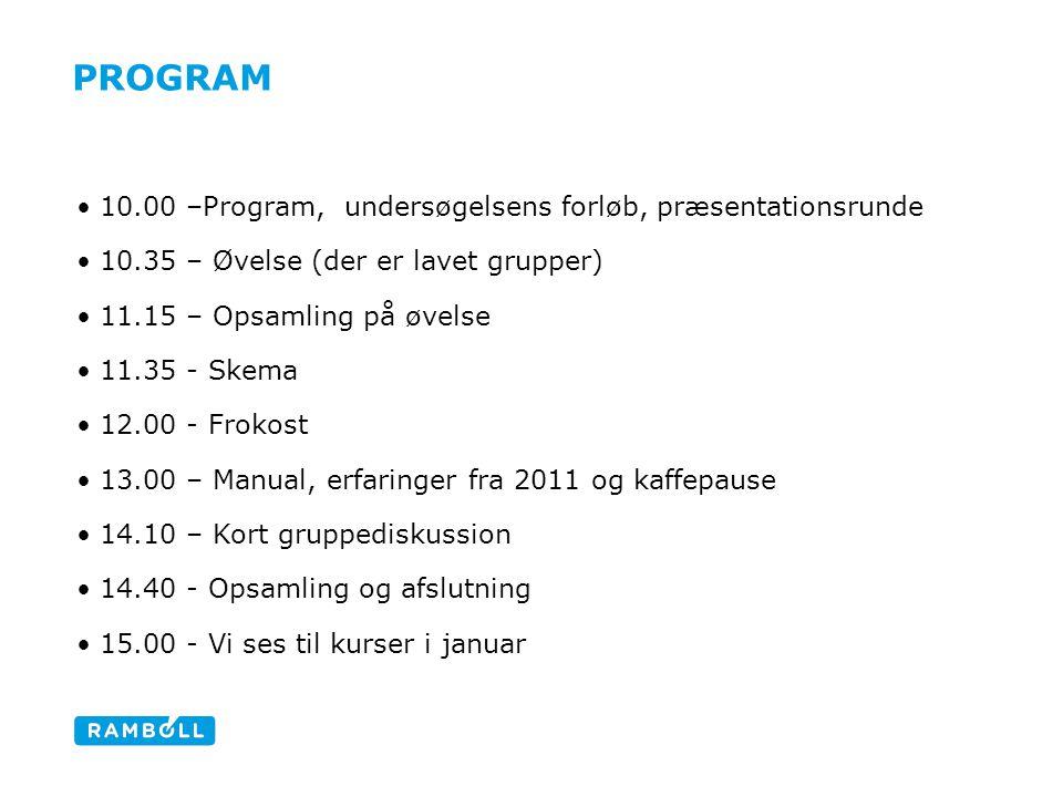 Program 10.00 –Program, undersøgelsens forløb, præsentationsrunde