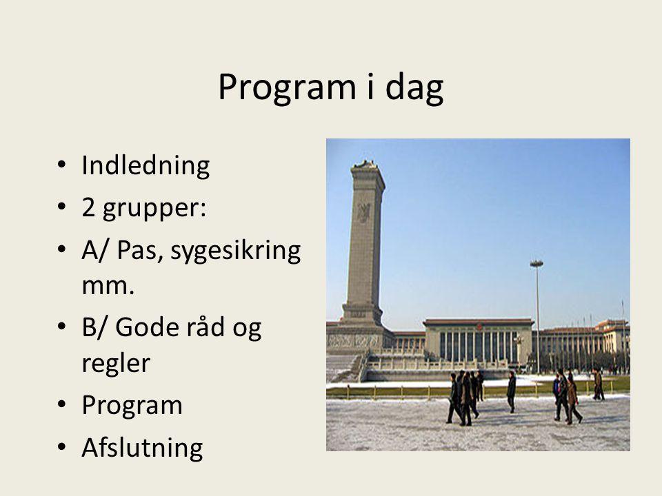 Program i dag Indledning 2 grupper: A/ Pas, sygesikring mm.