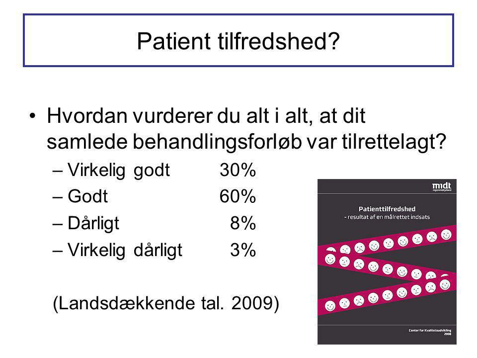 Patient tilfredshed Hvordan vurderer du alt i alt, at dit samlede behandlingsforløb var tilrettelagt