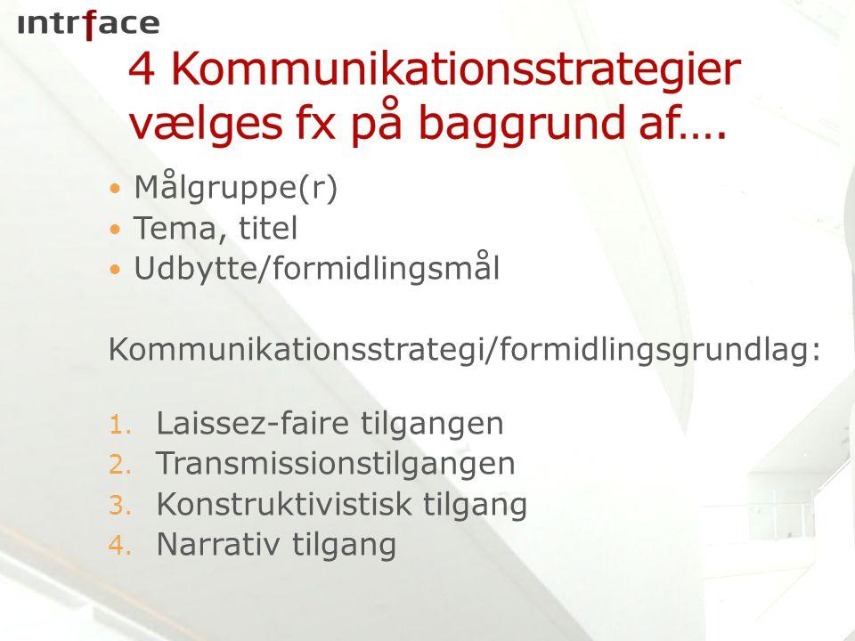 4 Kommunikationsstrategier vælges fx på baggrund af….