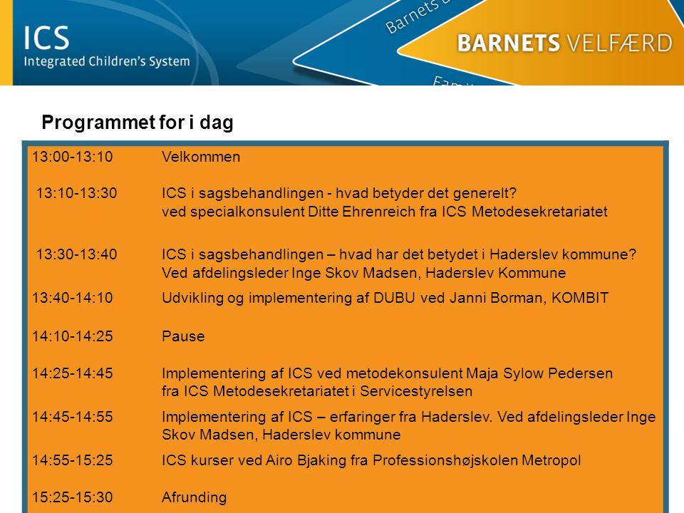 Programmet for i dag 13:00-13:10 13:10-13:30
