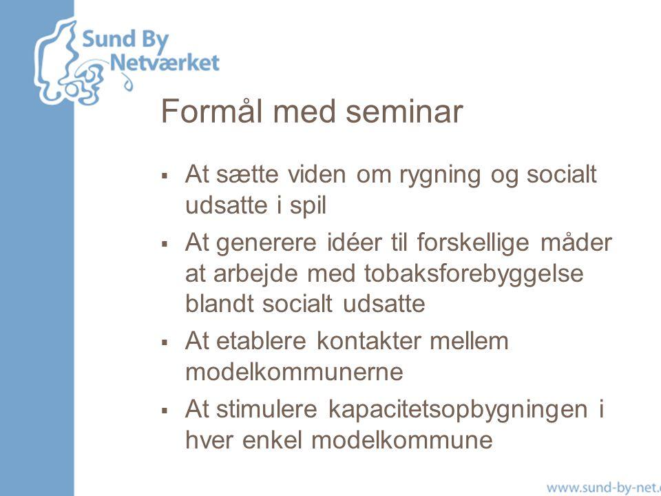 Formål med seminar At sætte viden om rygning og socialt udsatte i spil