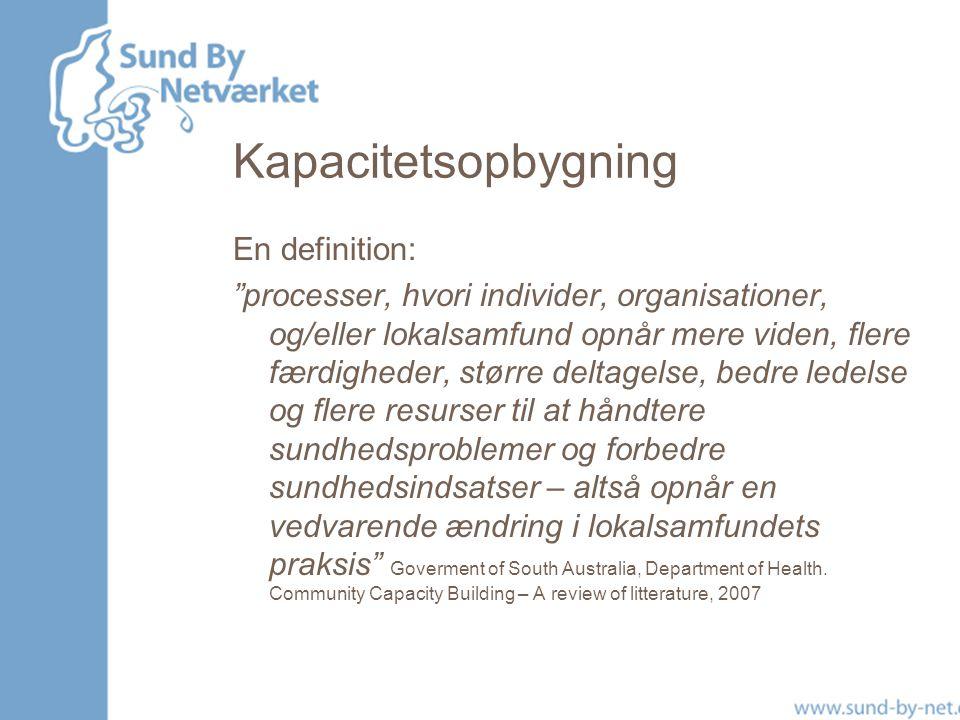 Kapacitetsopbygning En definition: