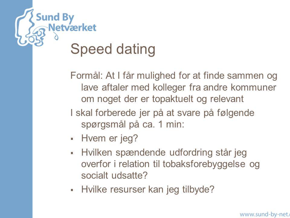 Speed dating Formål: At I får mulighed for at finde sammen og lave aftaler med kolleger fra andre kommuner om noget der er topaktuelt og relevant.