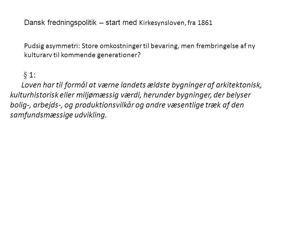 Dansk fredningspolitik – start med Kirkesynsloven, fra 1861
