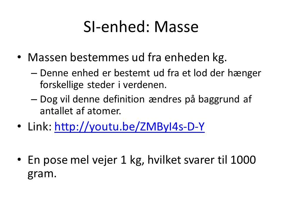 SI-enhed: Masse Massen bestemmes ud fra enheden kg.