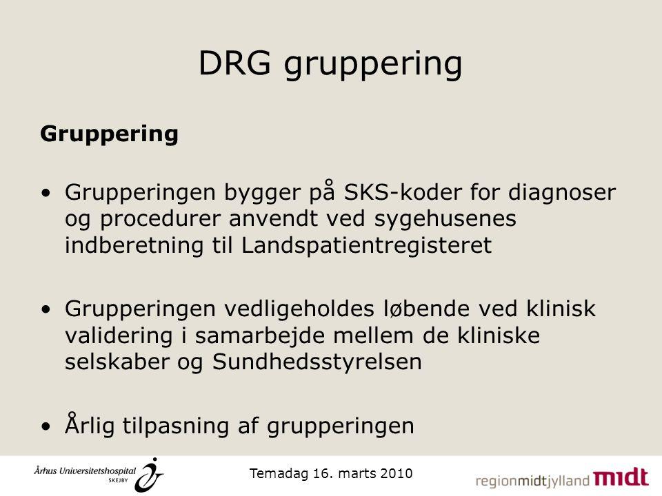 DRG gruppering Gruppering