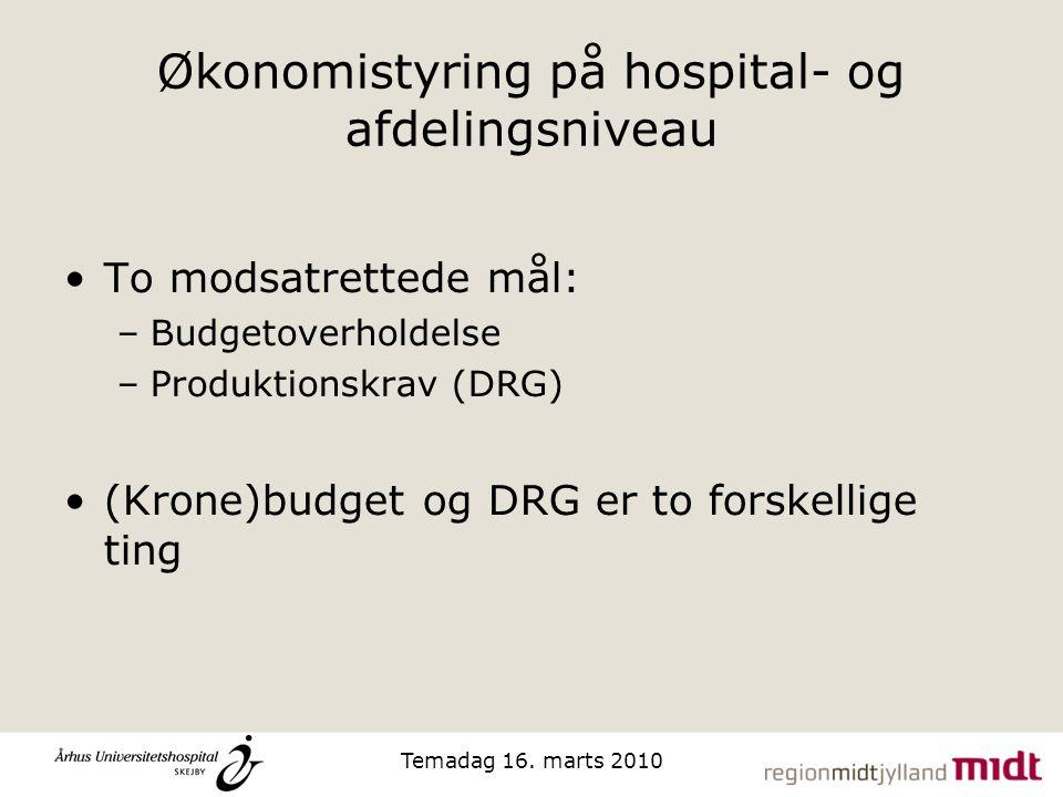Økonomistyring på hospital- og afdelingsniveau