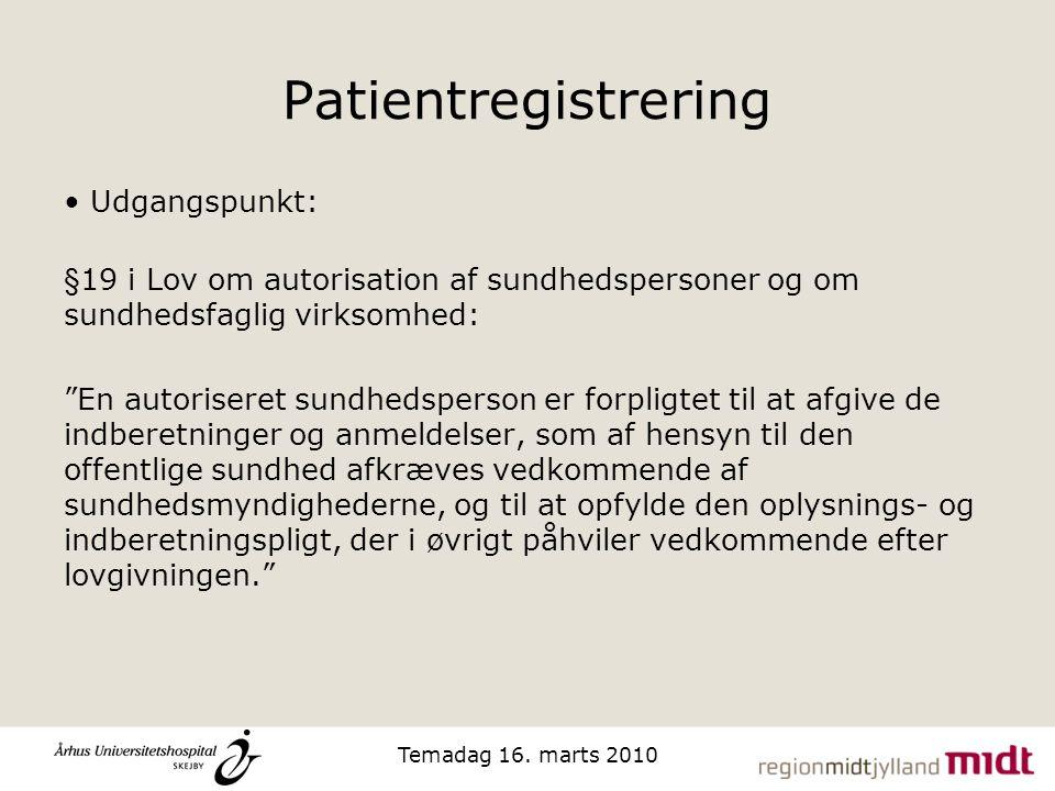 Patientregistrering Udgangspunkt: