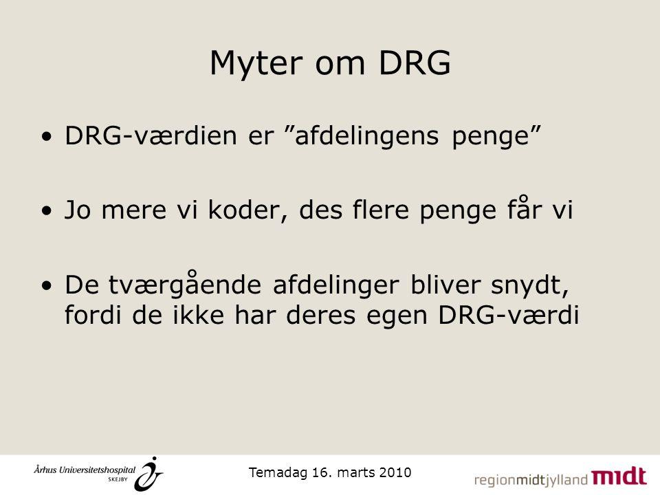 Myter om DRG DRG-værdien er afdelingens penge