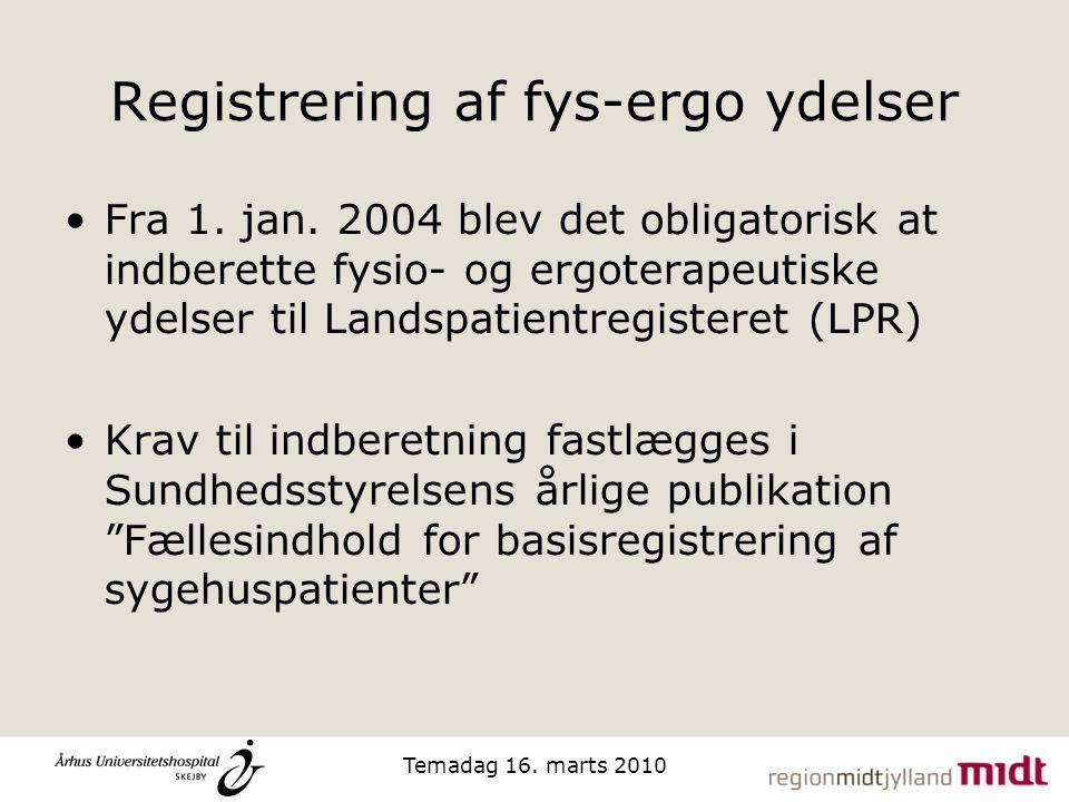 Registrering af fys-ergo ydelser