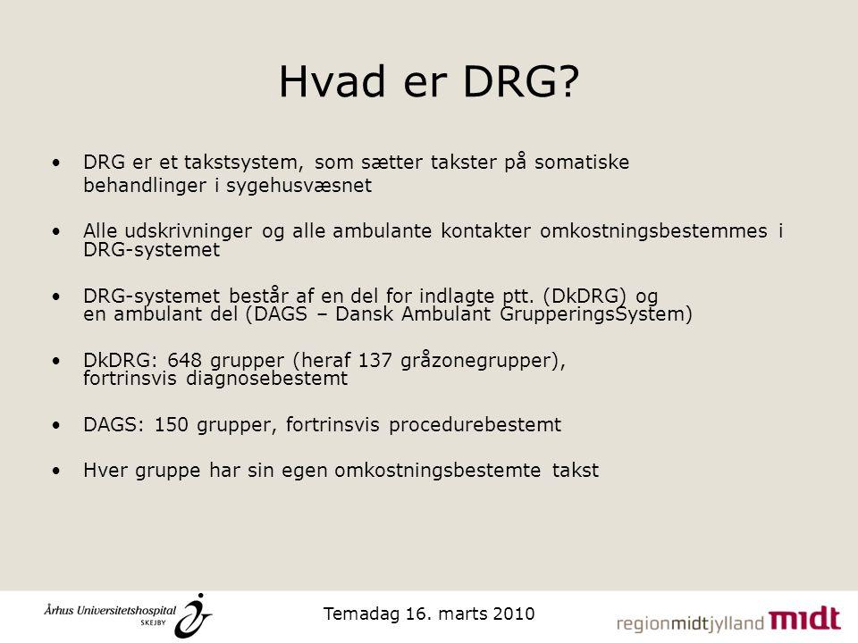Hvad er DRG DRG er et takstsystem, som sætter takster på somatiske