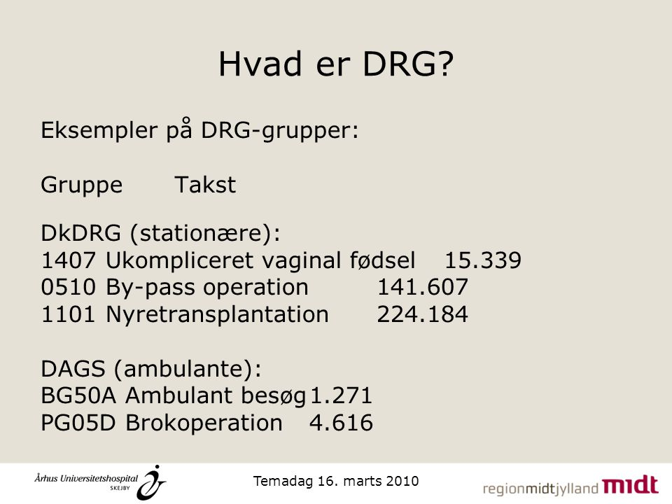 Hvad er DRG Eksempler på DRG-grupper: Gruppe Takst