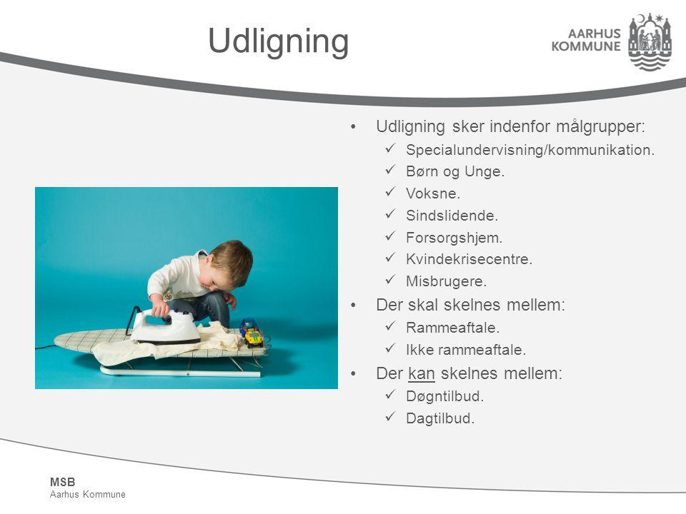 Udligning Udligning sker indenfor målgrupper: Der skal skelnes mellem: