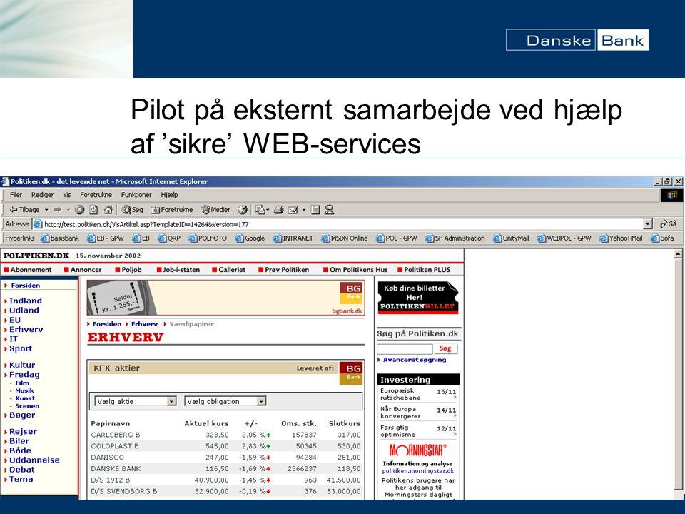 Pilot på eksternt samarbejde ved hjælp af 'sikre' WEB-services