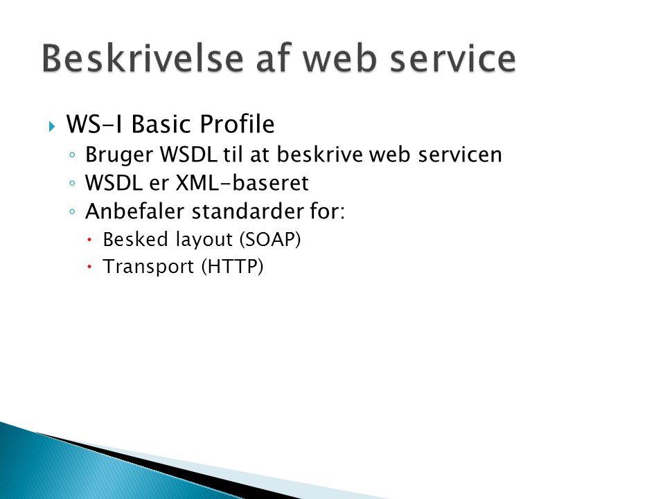 Beskrivelse af web service