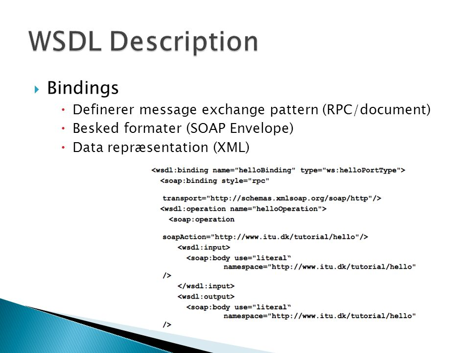WSDL Description Bindings