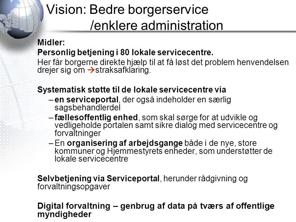 Vision: Bedre borgerservice /enklere administration