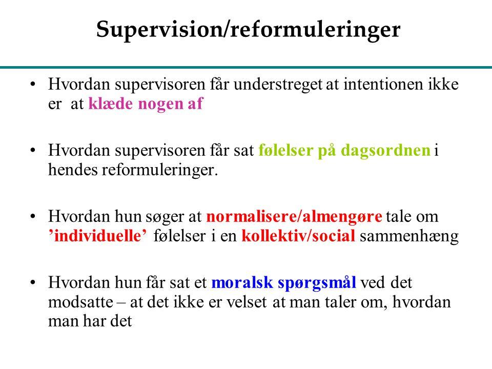Supervision/reformuleringer