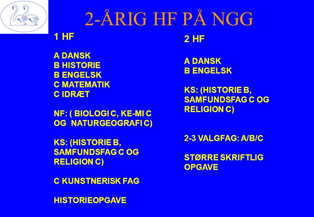 2-ÅRIG HF PÅ NGG 1 HF 2 HF A DANSK A DANSK B HISTORIE B ENGELSK