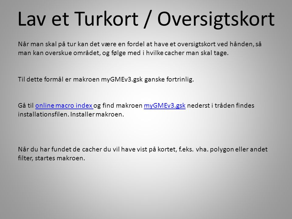 Lav et Turkort / Oversigtskort