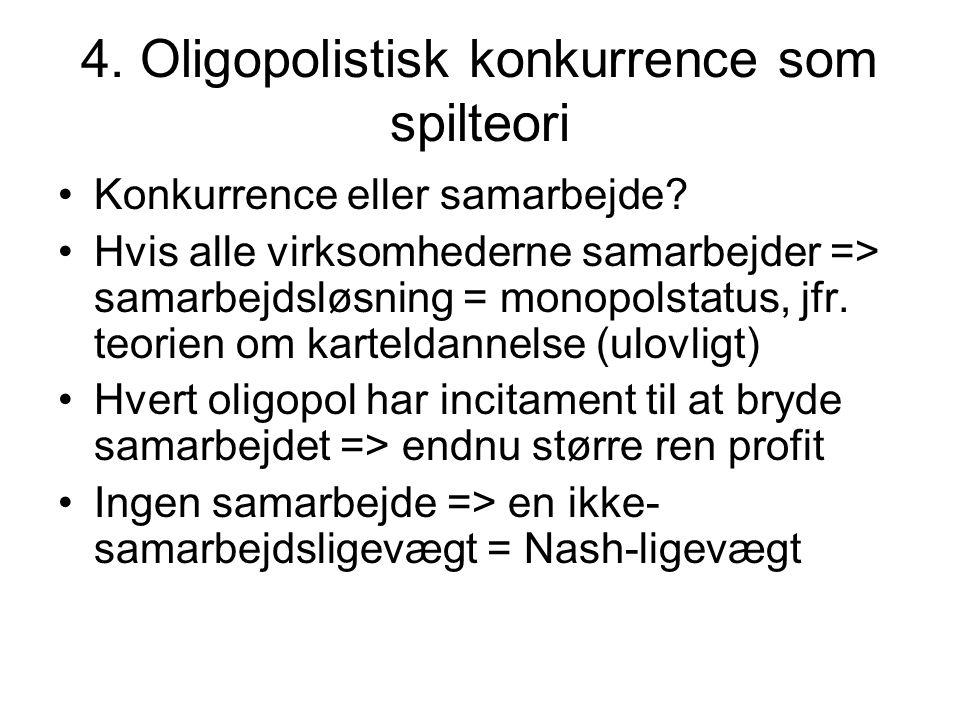 4. Oligopolistisk konkurrence som spilteori