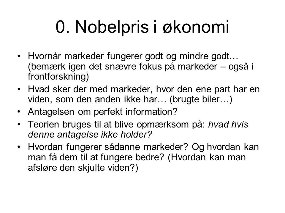 0. Nobelpris i økonomi Hvornår markeder fungerer godt og mindre godt… (bemærk igen det snævre fokus på markeder – også i frontforskning)