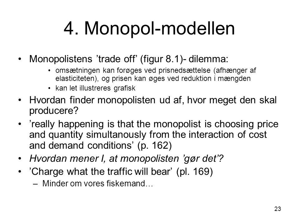 4. Monopol-modellen Monopolistens 'trade off' (figur 8.1)- dilemma: