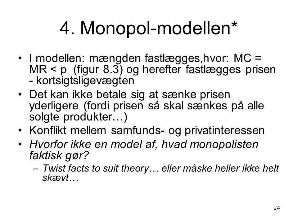 4. Monopol-modellen* I modellen: mængden fastlægges,hvor: MC = MR < p (figur 8.3) og herefter fastlægges prisen - kortsigtsligevægten.