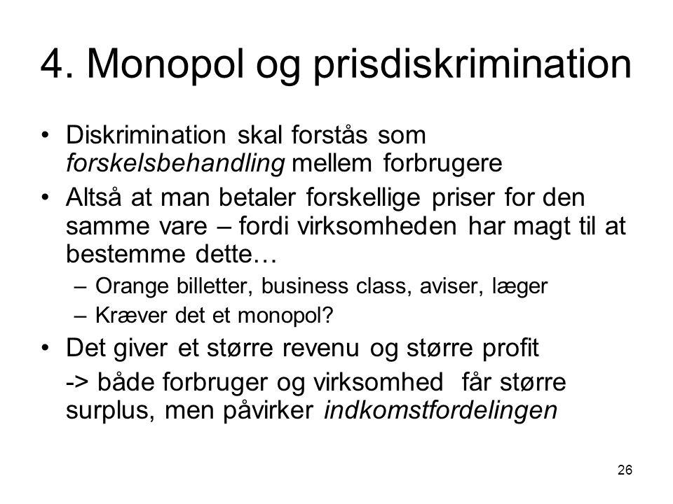 4. Monopol og prisdiskrimination