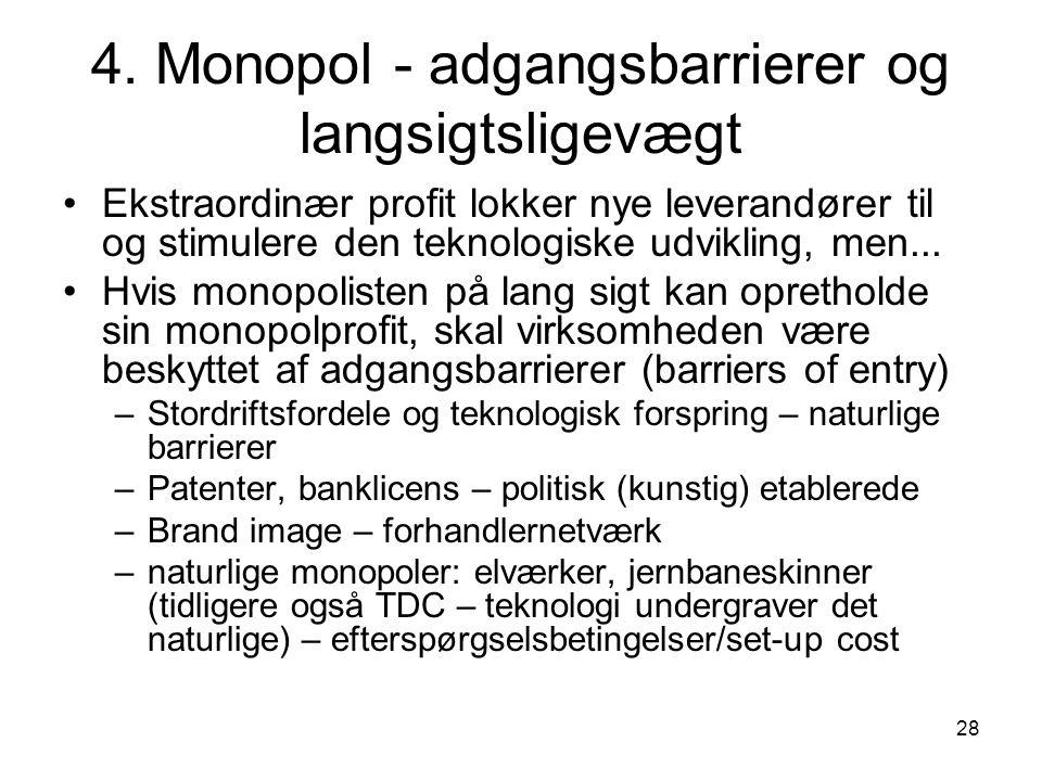 4. Monopol - adgangsbarrierer og langsigtsligevægt