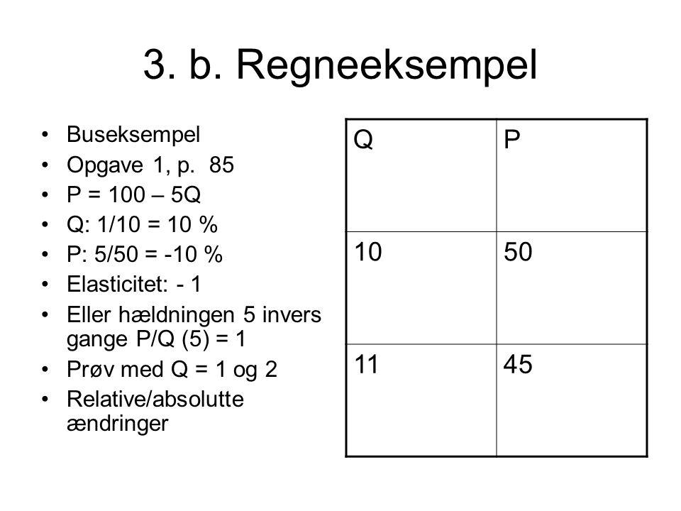 3. b. Regneeksempel Q P 10 50 11 45 Buseksempel Opgave 1, p. 85