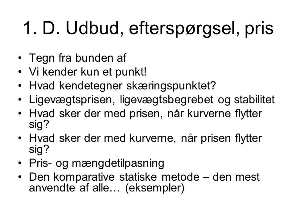 1. D. Udbud, efterspørgsel, pris