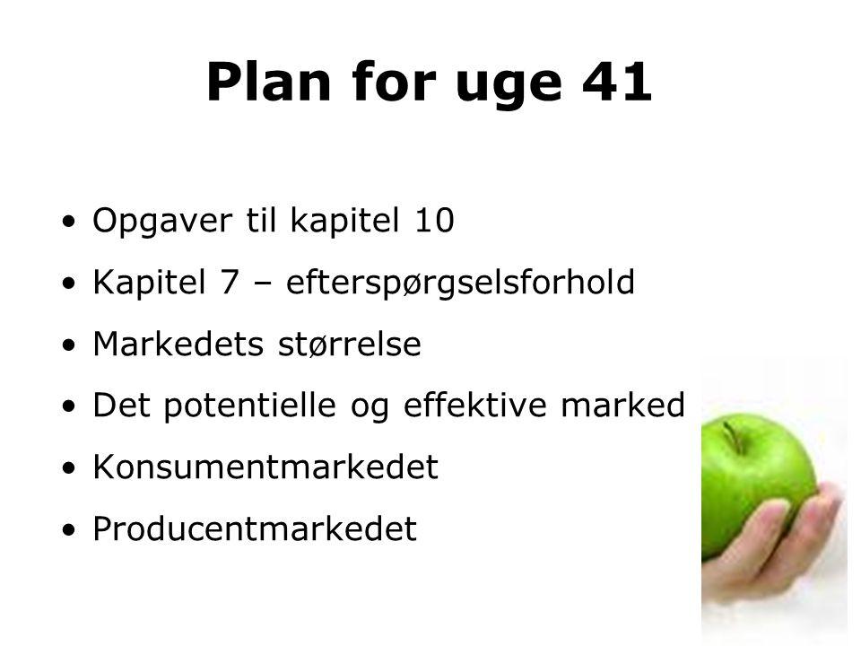 Plan for uge 41 Opgaver til kapitel 10