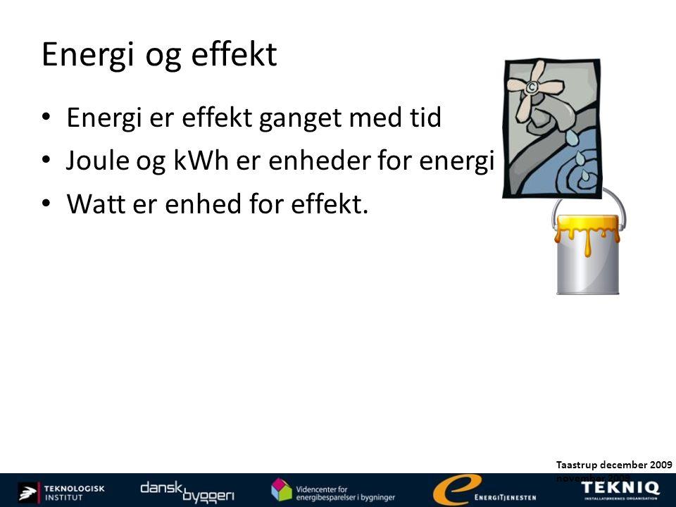 Energi og effekt Energi er effekt ganget med tid