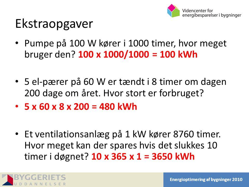 Ekstraopgaver Pumpe på 100 W kører i 1000 timer, hvor meget bruger den 100 x 1000/1000 = 100 kWh.