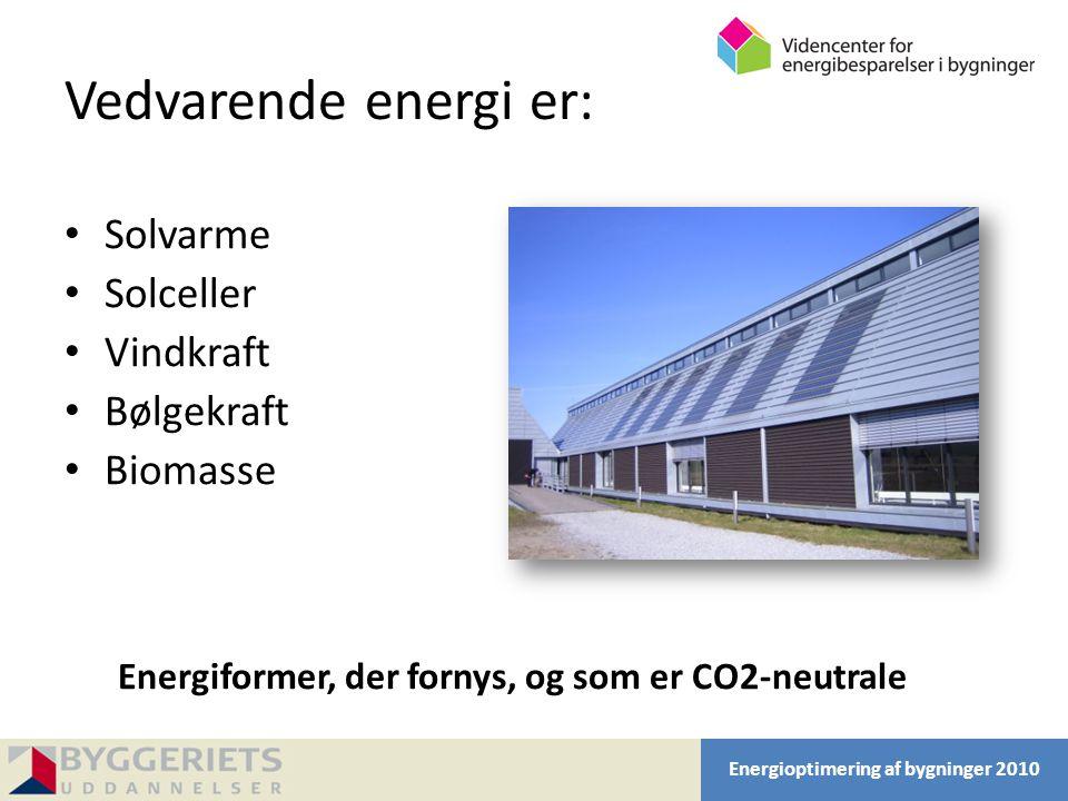 Vedvarende energi er: Solvarme Solceller Vindkraft Bølgekraft Biomasse
